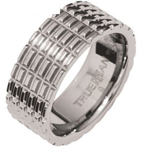 "Mens Tungsten Ring ""Tyre Track"" US Size 8.5 - Ottery Jewellery"