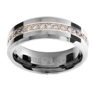 Tungsten Ring with Gemstones US Size 8.5 - Ottery Jewellery