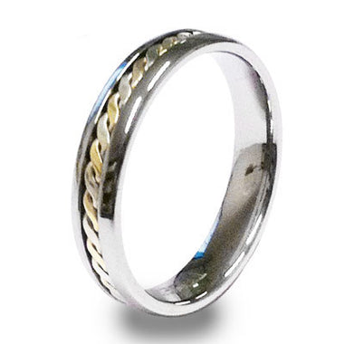 Trueman Tungsten Ring With Gold Inlay - Size P - Ottery Jewellery