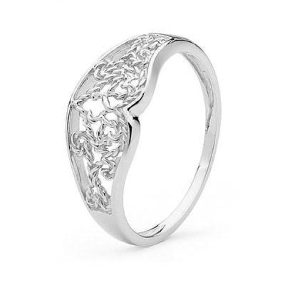 White Gold Filigree Ring 27