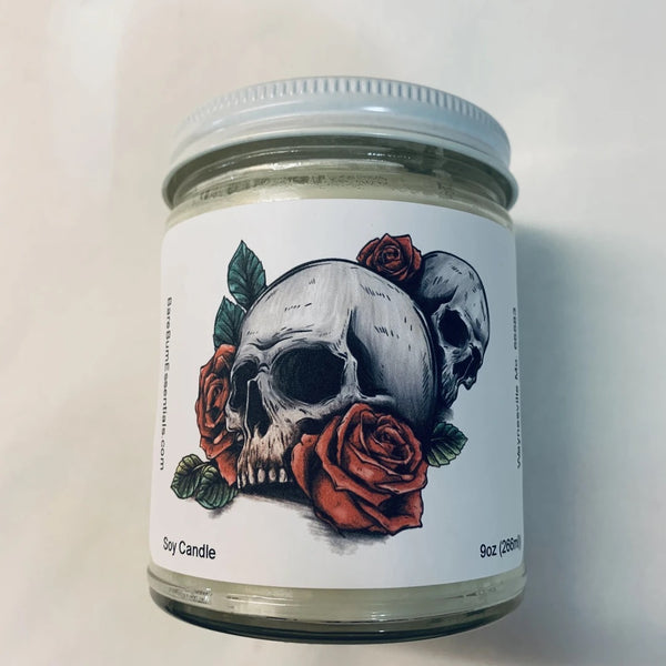 Skulls and roses Candle