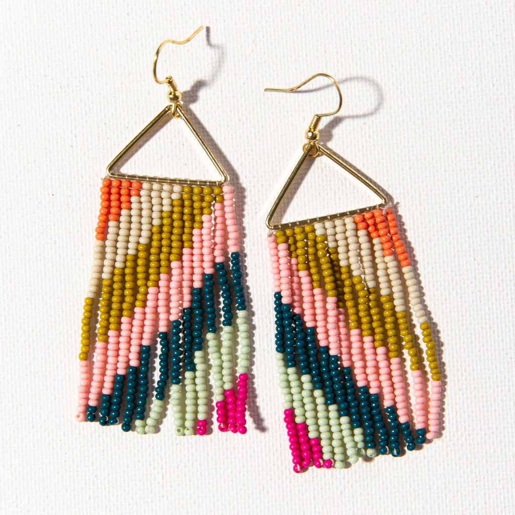 INK + ALLOY | PINK CITRON + PEACOCK TRIANGLE FRINGE EARRING - Frills Boutique