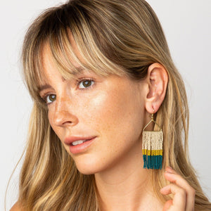 INK + ALLOY | PEACOCK CITRON TRIANGLE FRINGE EARRING - Frills Boutique