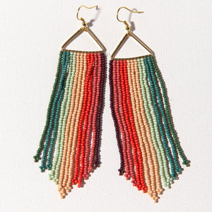 INK + ALLOY | PINK + MINT STRIPE TRIANGLE FRINGE EARRING - Frills Boutique