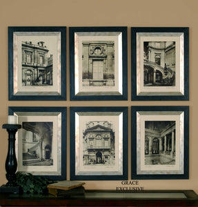 PARIS SCENE FRAMED PRINTS, S/6
