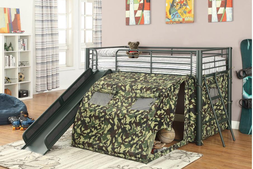 TWIN LOFT BED With slide camouflage