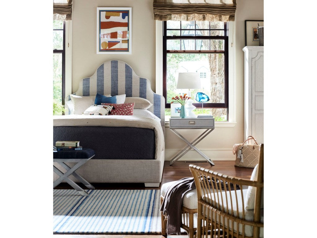 SAGAMORE HILL PANEL KING BED WITH BLUE COASTAL STRIPE