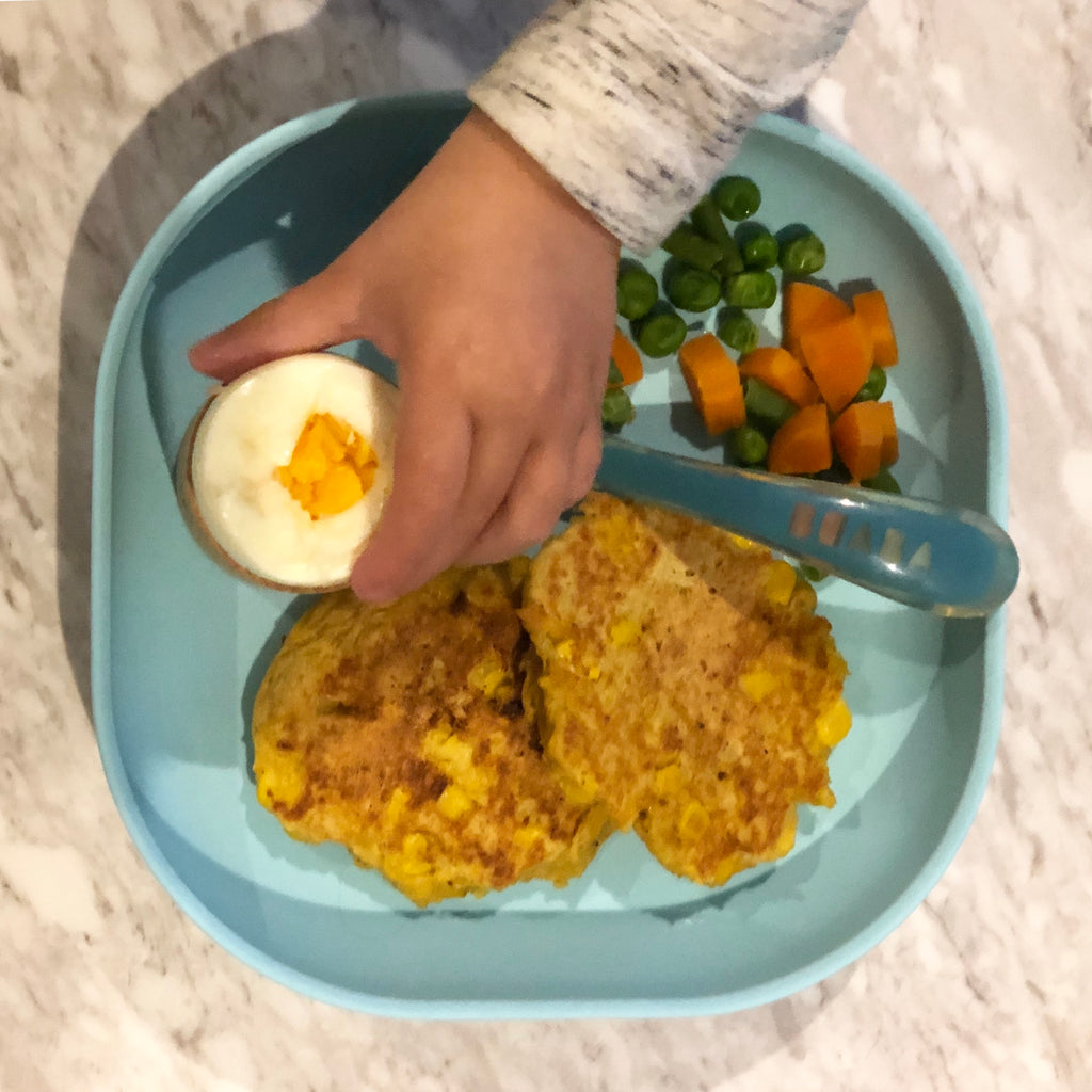 Corn Fritters and Boiled Egg