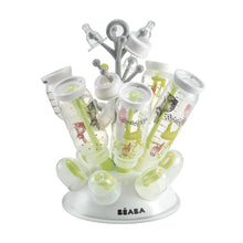 Beaba Tree Draining Rack Neon Green with bottles drying