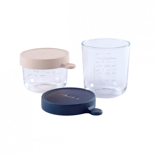150ml and 250ml Beaba Glass conservation jars with Blue and Pink silicone lids