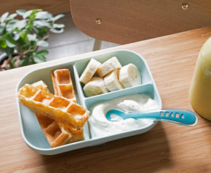 Beaba Blue Silicone Suction Divided Plate allows to easily divide baby's meal into the 3 distinct compartments