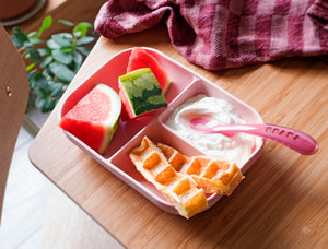 Beaba Pink Silicone Suction Divided Plate allows to easily divide baby's meal into the 3 distinct compartments