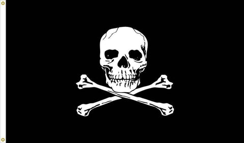 Jolly Roger 12 inch x 18 inch Nylon Dyed Flag (USA Made)