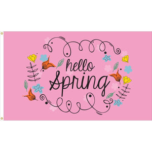 Hello Spring Flag - Outdoor Commercial - 3 x 5 Nylon Dyed (USA Made)