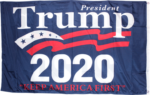 Image of 3X5 Ft Double Sided President Trump Keep America First 2020 Flag - Blue Rough Tex