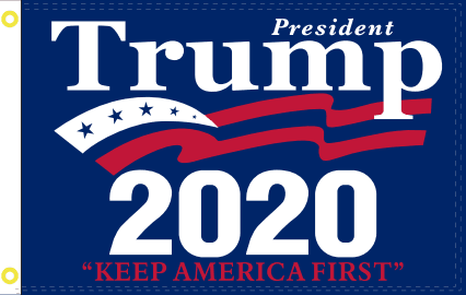 3X5 Ft Double Sided President Trump Keep America First 2020 Flag - Blue Rough Tex