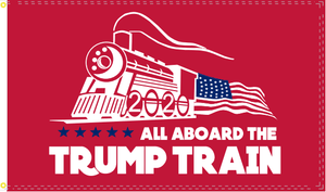 All Aboard The Trump Train 2020 Flag Red Nylon Made in USA Small Huge