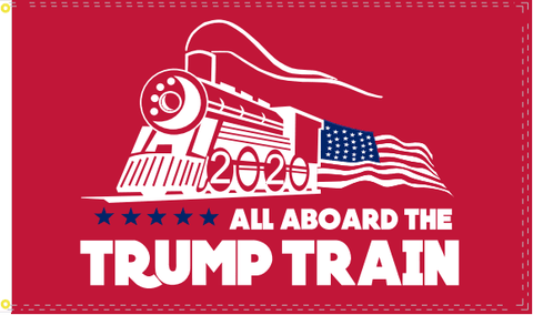 All Aboard The Trump Train 2020 Flag Red Nylon Made In Usa 3X5