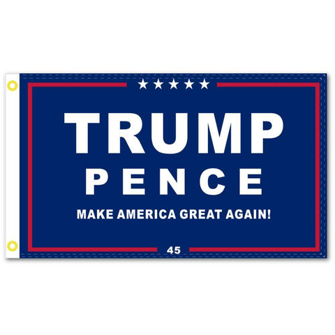 Image of Trump Pence Maga Flag - Blue Background 100D Rough Tex