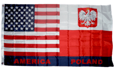 Image of USA & Poland Flag 3 X 5 ft. Standard 150D