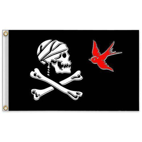 Image of Halloween Huge Skull 2X3Ft Crossbones Pirate Flags B