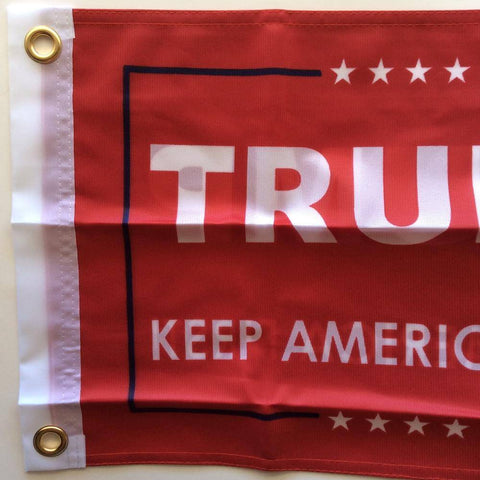 Image of 12x18 inch Trump Keep America First Flag Red Double Sided Knit