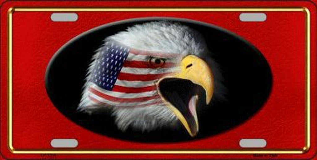 American Flag w/Eagle Dark Red Background License Plates Made in USA