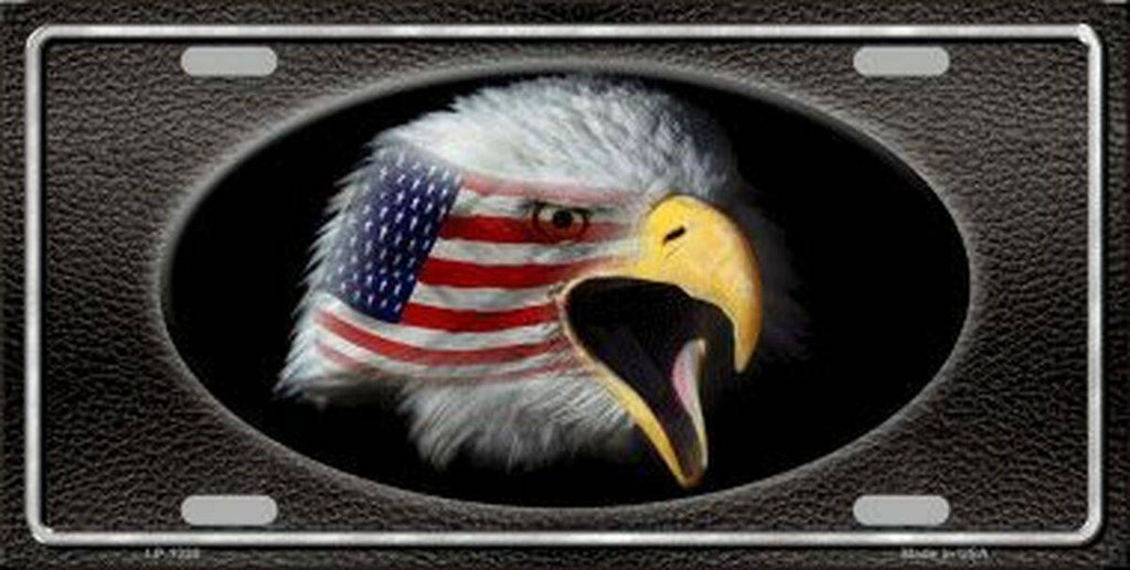 American Flag w/ Eagle Black Background License Plate Made in USA