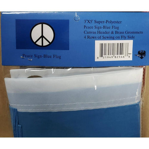 Image of Peace Sign Flag Blue 3x5 ft Economical