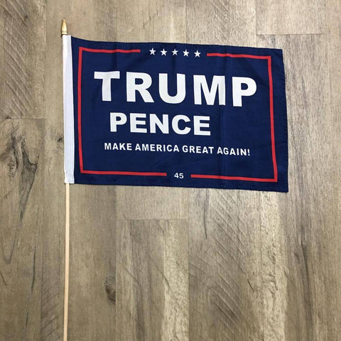 Image of Trump Pence MAGA Flag - Blue Background - 100D Rough Tex