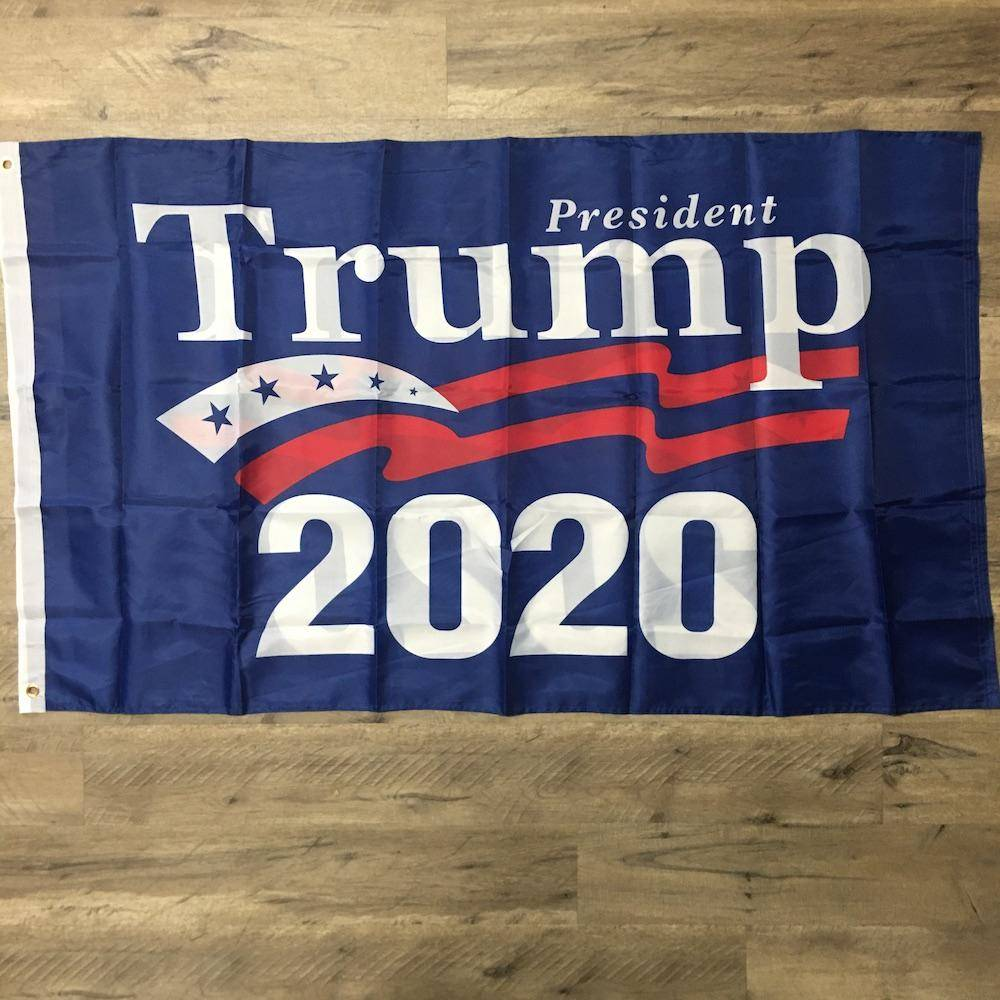 President Trump 2020 Flag - Blue Background - Rough Tex Double Sided