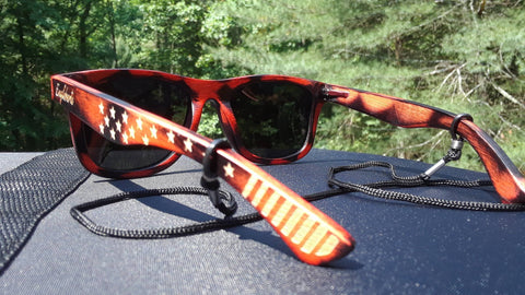 Red Burnt Bamboo Sunglasses, Polarized, Stars and Bars