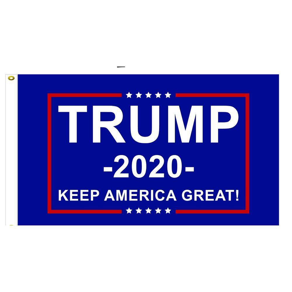 Trump 2020 Flag Keep America Great Blue Made In Usa Stadium 5X8 6X10 / Single