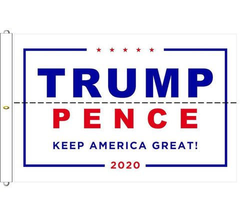 Trump Pence 2020 Flag Keep America Great White Outdoor Dacron Made In Usa 6X10 / Single