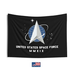 Made In Usa Us Space Force Flag Black Printed Dacron Official
