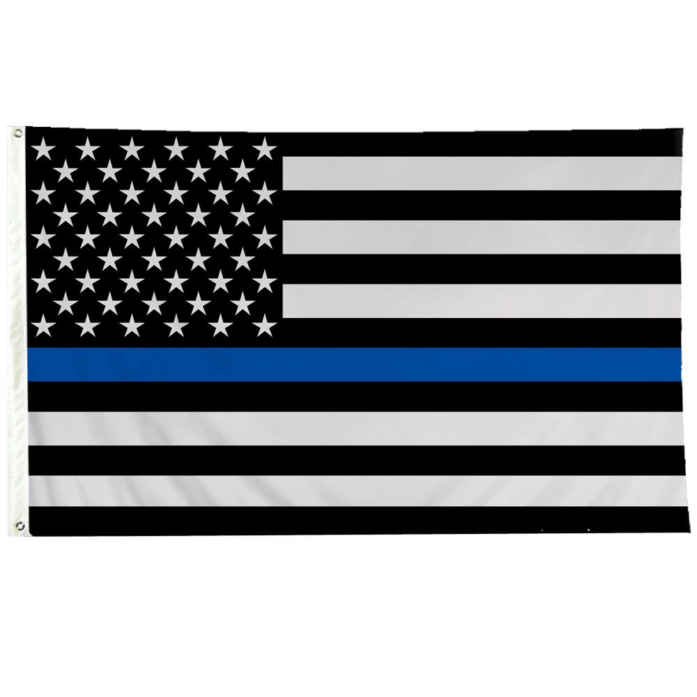 USA Police Flag with Thin Blue Line 3x5 ft Rough Tex