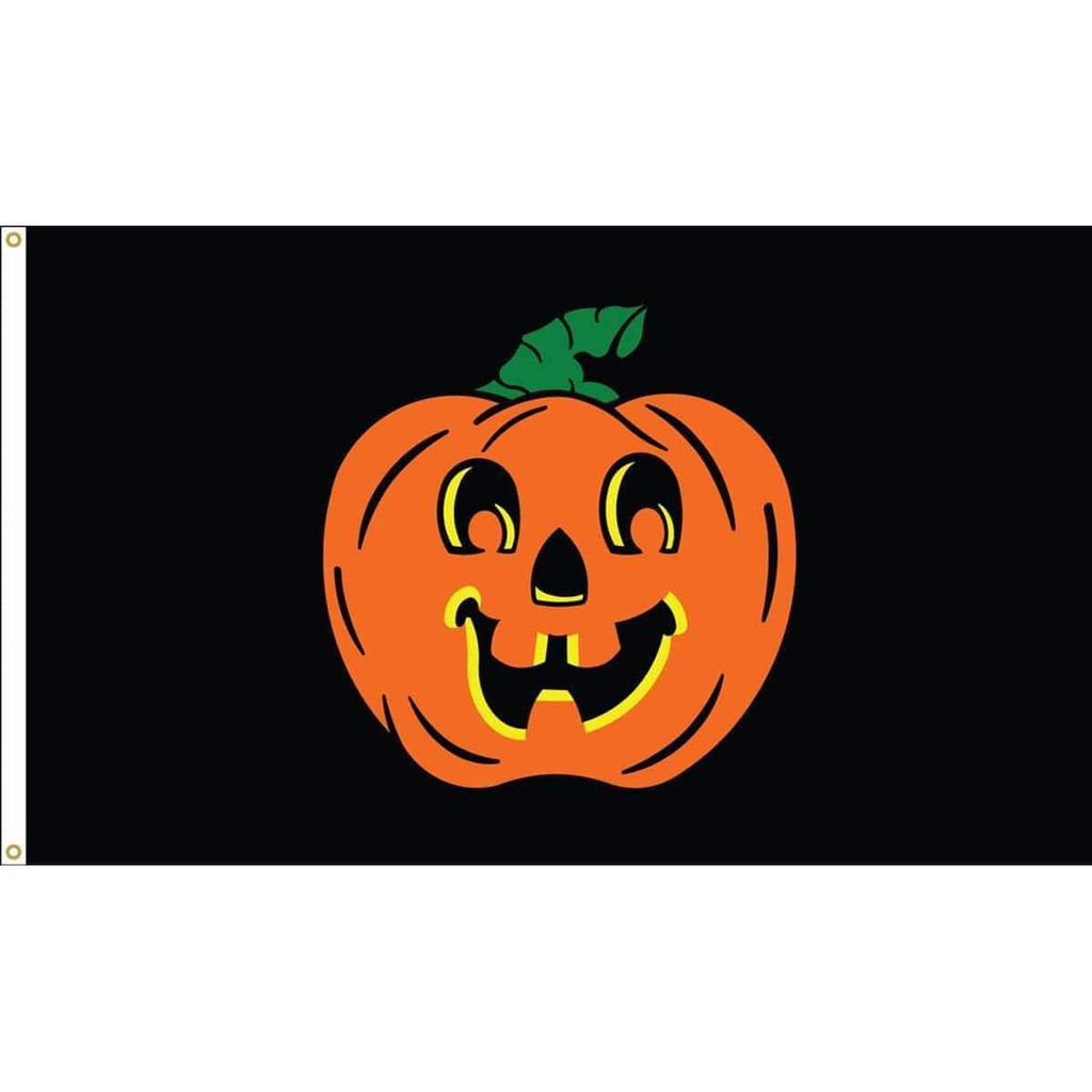 vendor-unknown Additional Flags Halloween Pumpkin 3 x 5 Nylon Dyed Flag (USA Made)