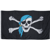 vendor-unknown Additional Flags Jolly Roger Pirate Blue Scarf 3 X 5 ft. Standard