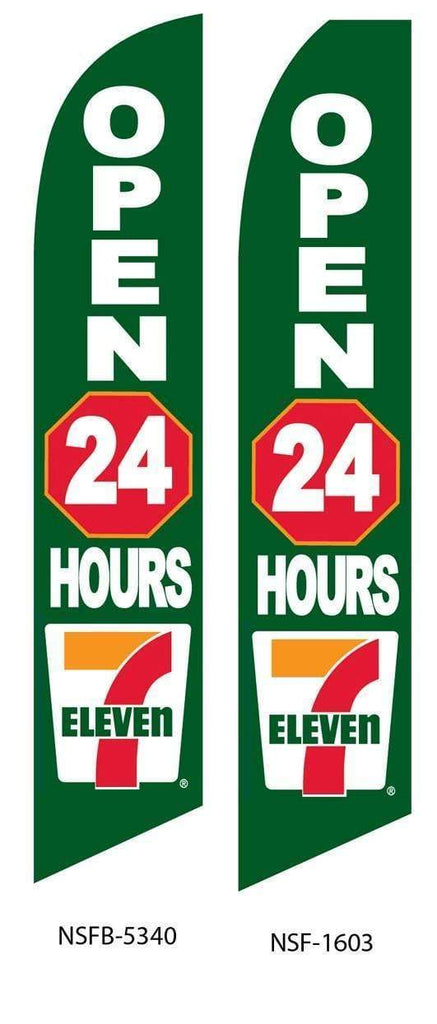 vendor-unknown Advertising Flags 7 Eleven 24 Hour Advertising Flag (Complete set)