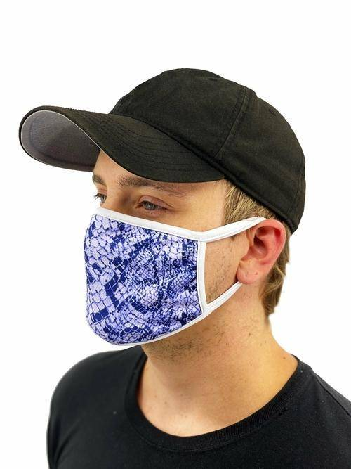 Blue Snakeskin Face Mask With Filter Pocket L/xl / Multicolored Womens Clothing