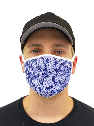 Image of Blue Snakeskin Face Mask With Filter Pocket Womens Clothing