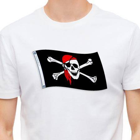 Jolly Roger Red Hat Pirate T-shirt (5XL)