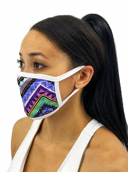 Colorful Aztec Face Mask With Filter Pocket L/xl / Multicolored Womens Clothing