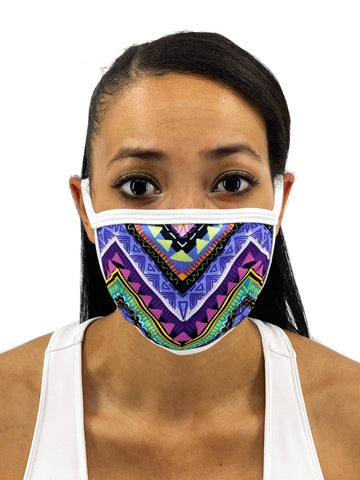 Image of Colorful Aztec Face Mask With Filter Pocket Womens Clothing