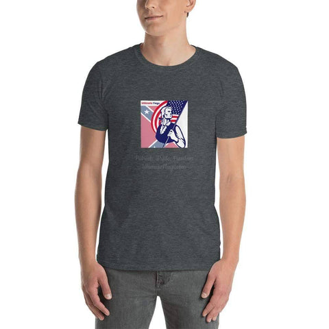 Image of Ultimate Flags Dark Heather / S Ultimate Flags Logo Short-Sleeve Unisex T-Shirt Patriots, Pride, Freedom