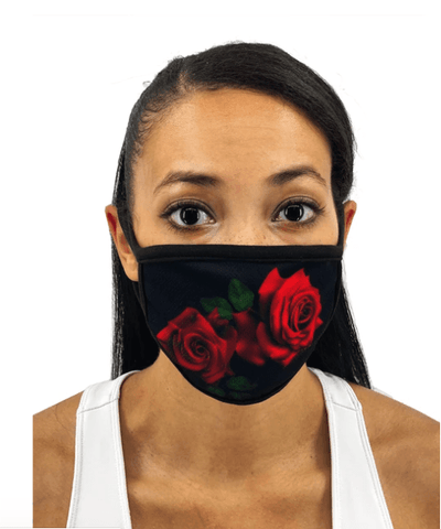 Image of Red Roses Face Mask With Filter Pocket
