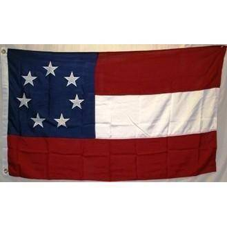 Image of RU Flag 3x5 210D Nylon Embroidered First National Confederate Flag -  7 Stars and Bars Nylon Embroidered