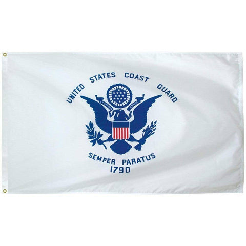 Collins/Eder Flag 3x5 Coast Guard Flag - Outdoor - Commercial - All Sizes - Nylon Dyed (Made in USA)