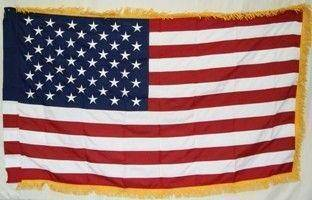 vendor-unknown Flag 50 Star USA Flag - Nylon Embroidered Sleeve with Fringes 3 x 5 ft.