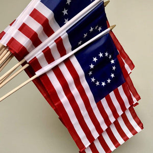 RU Flag Betsy Ross Flag USA Patriotic Flag 12 x 18 inch on Stick